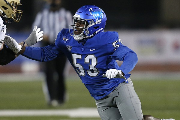 Buffalo Bulls defensive end C.J. Bazile (53) during the second half of an NCAA college football game against the Akron Zips at UB stadium in Amherst, N.Y., Saturday Dec. 12, 2020. (AP/ Photo Jeffrey T. Barnes)