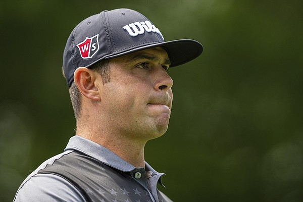 Gary Woodland looks down the fairway on the second hole during the third round of the Wells Fargo Championship golf tournament at Quail Hollow on Saturday, May 8, 2021, in Charlotte, N.C.