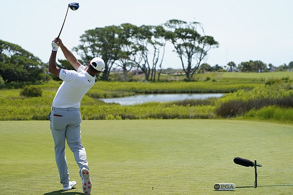 Gary Woodland tees off on the third hole during the second round of the PGA Championship golf tournament on the Ocean Course Friday, May 21, 2021, in Kiawah Island, S.C.
