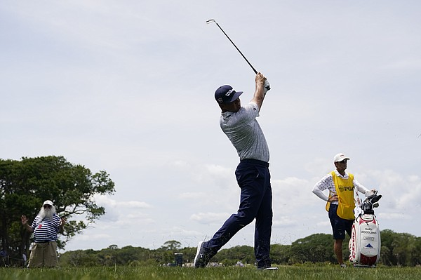 Gary Woodland watches his shot on the second hole during the third round at the PGA Championship golf tournament on the Ocean Course, Saturday, May 22, 2021, in Kiawah Island, S.C.