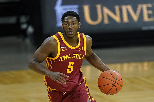 Iowa State Guard Jalen Coleman-Lands steps onto the field during the first half of an NCAA college basketball game against Iowa on Friday, December 11, 2020, in Iowa City, Iowa.