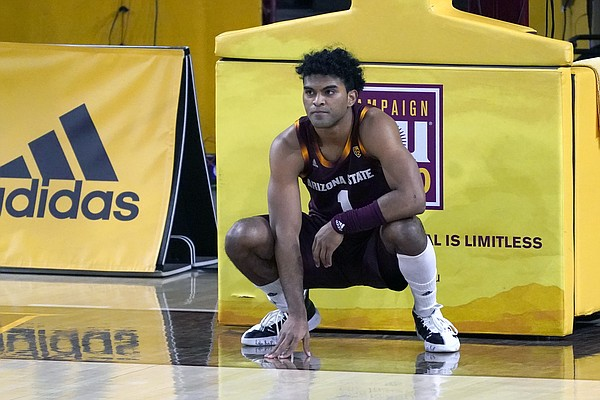 Arizona State guard Remy Martin (1) during the first half of an NCAA college basketball game against Arizona, Thursday, Jan. 21, 2021, in Tempe, Ariz.