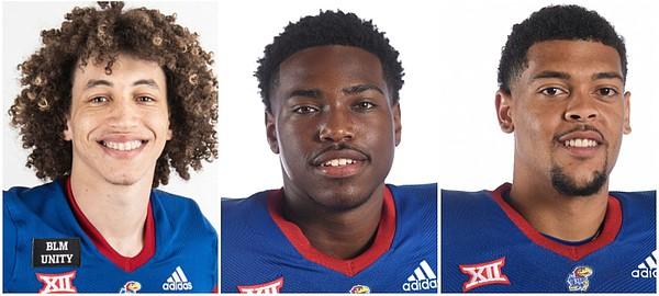 Kansas football quarterbacks Jason Bean, Jalon Daniels and Miles Kendrick