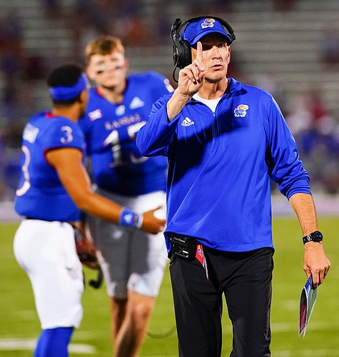 Kansas head coach Lance Leipold signals to an official during the second quarter on Friday, Sept. 3, 2021 at Memorial Stadium. (Photo by Nick Krug/Special to the Journal-World)