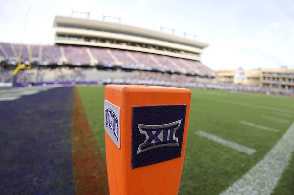 The Big 12 Conference logo is seen on a goal line pylon before Duquesne plays TCU in an NCAA college football game Saturday, Sept. 4, 2021, in Fort Worth, Texas.