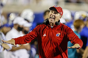 Kansas coach Lance Leipold yells at an official as the team plays against Coastal Carolina during the second half of an NCAA college football game in Conway, S.C., Friday, Sept. 10, 2021. Coastal Carolina won 49-22. (AP Photo/Nell Redmond)
