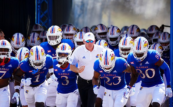 Kansas head coach Lance Leipold and the Jayhawks take the field for kickoff against Baylor on Saturday, Sept. 18, 2021 at Memorial Stadium. (Photo by Nick Krug/Special to the Journal-World)