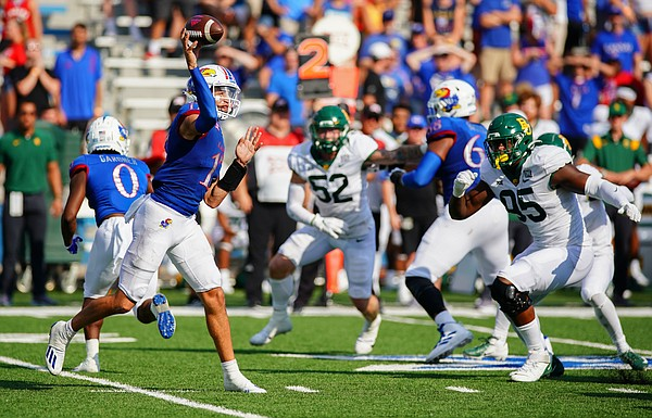 Kansas quarterback Jason Bean (17) throws against the Baylor defense during the third quarter on Saturday, Sept. 18, 2021 at Memorial Stadium. (Photo by Nick Krug/Special to the Journal-World)