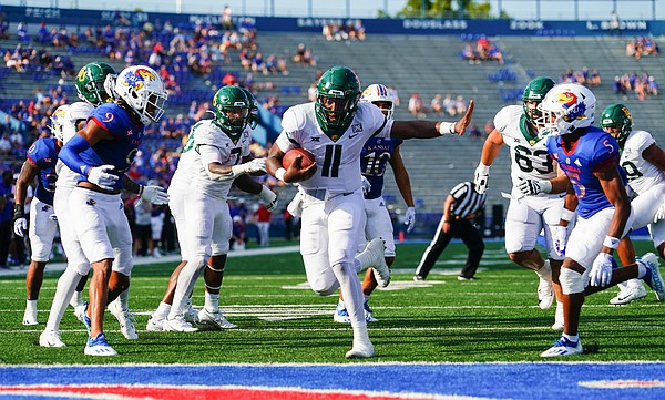 Baylor quarterback Gerry Bohanon (11) gets into the end zone untouched by the Kansas defense during the fourth quarter on Saturday, Sept. 18, 2021 at Memorial Stadium. (Photo by Nick Krug/Special to the Journal-World)