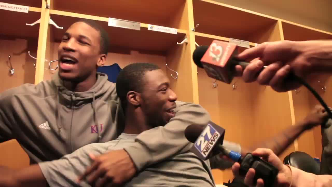 ... little fun and locker-room rapping Saturday after a KU practice session.