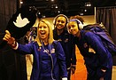 The Kansas University volleyball team and fans prepare Thursday for the Jayhawks' ...