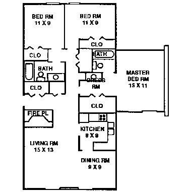 3 Bedroom Apartment Typical Floor Plan Quail Creek Apartments 1