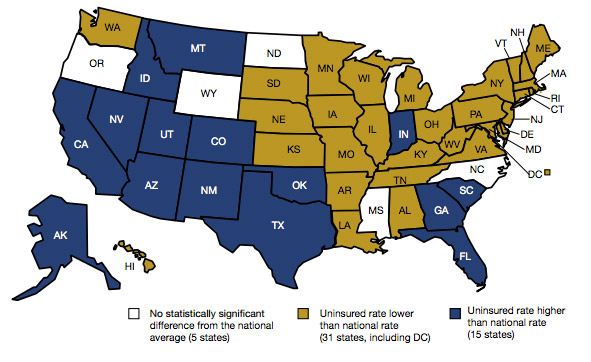 States In Gold Have Uninsured Rates For Children Lower Than The National Average